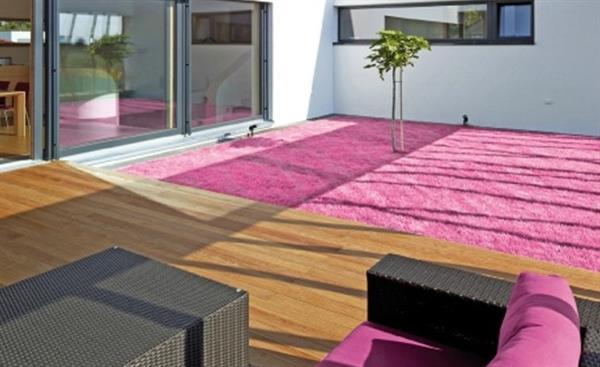 Ubrugte Græstæppe i pink kunstgræs - udendørs gulvtæppe LN-63